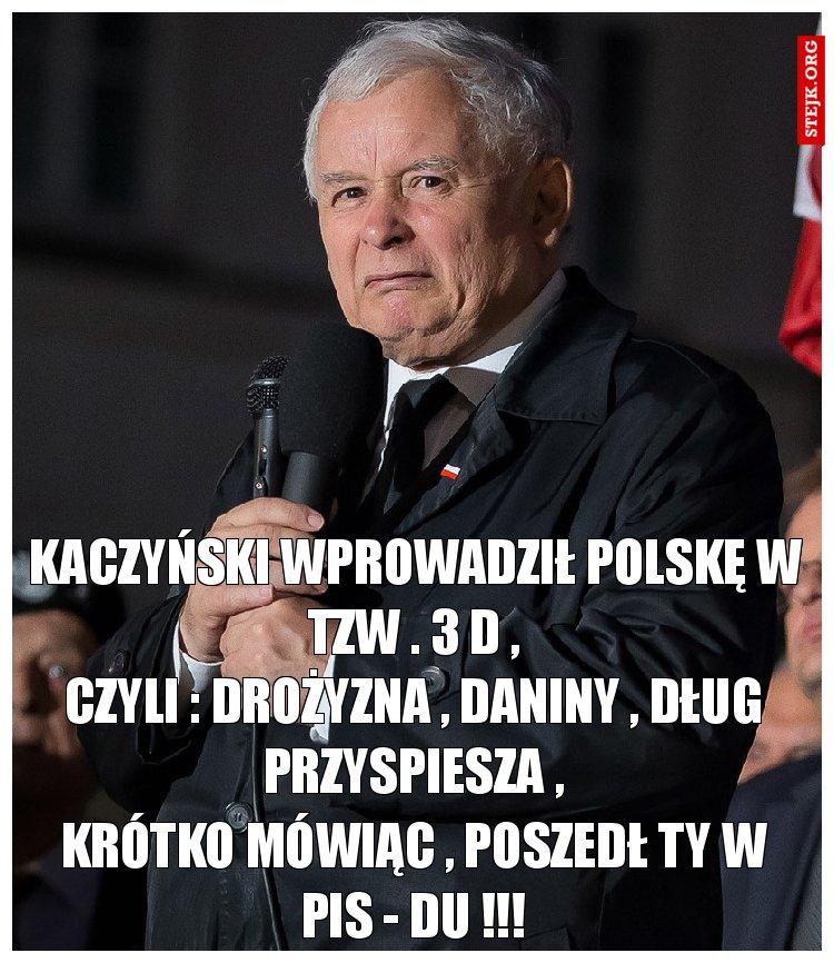 Kaczyński wprowadził Polskę w tzw . 3 d ,